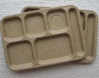 Dallas Ware tan trays divided storage confetti pattern