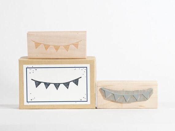 Bunting Rubber Stamp Pennant Flags