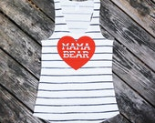 Mama Bear with Heart Black Sketchy Striped Racerback Tank Top with Red Print - Gift for Mom, Expecting, Family Photos, Mother to be