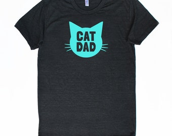 Cat Dad TriBlend Heather Black TShirt with Aqua Blue print - Family Photos, Gift for Dad, Gift for Him, Father's Day, Cat Person, Cat Lady