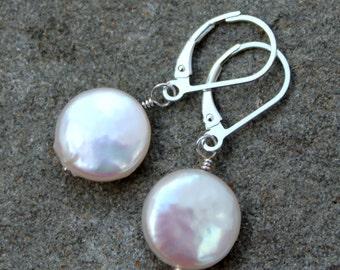 White Coin Pearl Earrings, June Birthstone, Pearl Dangle Earrings, Large Pearl Earrings