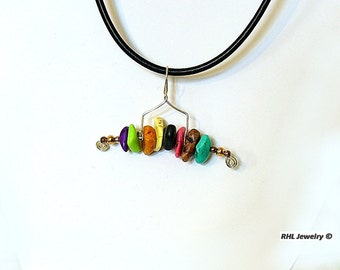 Fun Summer Jewelry Leather Necklace Freestyle Agate Pendant - N2013-02