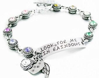 Crystal Id Bracelet, ID Charm Bracelet, Engraved Quote, Engraved Jewelry, ID Jewelry, Memorial ID Jewelry, Personalized Option