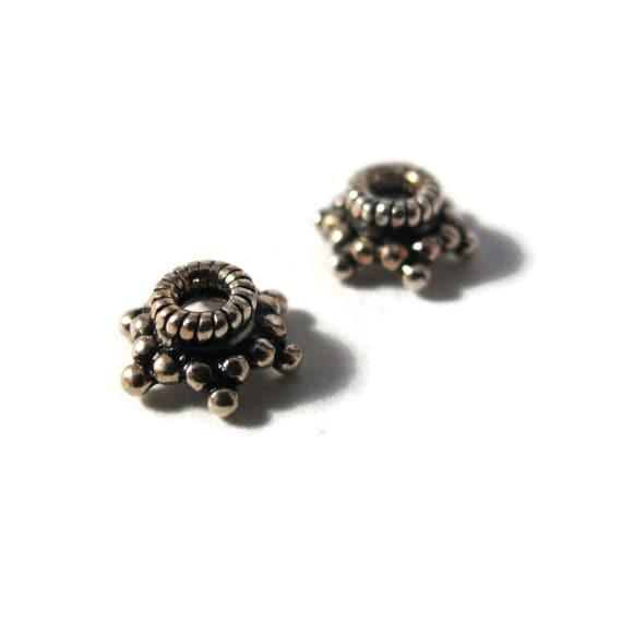 Two Bead Caps, 2 Sterling Silver Bead Caps for Making Jewelry, Spacer Beads for Bracelets, Earrings (H-TK250020)