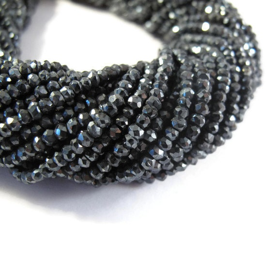 Mystic Black Spinel Beads, 3mm Faceted Gemstone Rondelles, 6 Inch Strand of Tiny Beauties for Making Jewelry (R-Sp2)