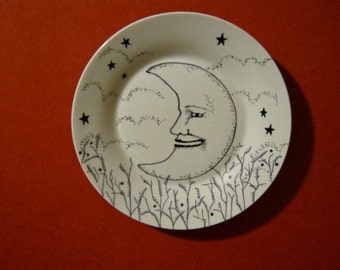 hand painted plate, sandy mastroni , moon and stars , original art on white plate, stipple,unique wall art, black white illustration