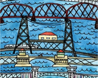 Portland Bridges print