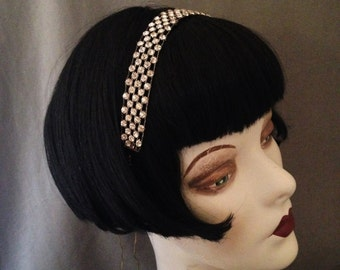 Classic 1920s Rhinestone, Paste Gatsby Headpiece, Headband, Simple Elegance for the Bride, Choker