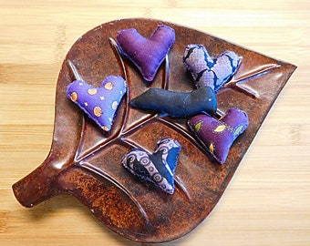 Purple Halloween Hearts and Crow Bowl Filler Ornaments