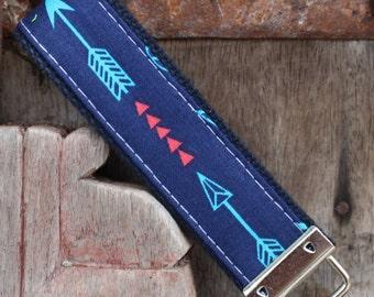 READY TO SHIP-Beautiful Key Fob/Keychain/Wristlet-Single Arrow On Navy-