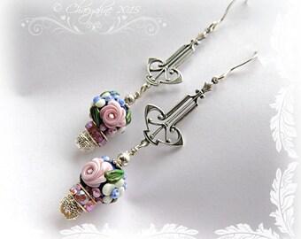 Bohemien Gypsy COBALT BLUE Rose Garden Art Deco Lampwork Earrings