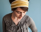 Daffodil Ruffle Print Stretch Headwrap Garlands of Grace convertible headband headcovering hair wrap