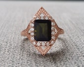 "Tourmaline Diamond Engagement Ring Geometric Victorian Halo Egyptian Bohemian Green Antique Emerald Art Deco 14K Rose Gold ""The Judith"""