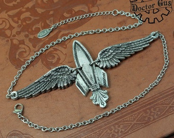Winged Rocket Ship Necklace - Inspired by Antique Victorian Silverware - Doctor Gus Handcrafted Jewelry - Steampunk Spaceship Rocketship