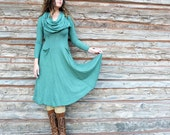 ORGANIC Super Cowl Perfect Pockets Below Knee Dress - ( light hemp and organic cotton knit ) - organic hemp dress