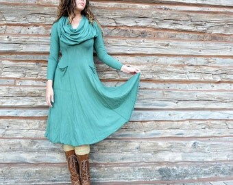 Women's ORGANIC Super Cowl Perfect Pockets Below Knee Dress - ( LIGHT hemp/organic cotton knit ) - organic hemp dress
