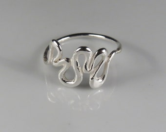 Solid sterling silver wave ring, curved ring, silver rings for women