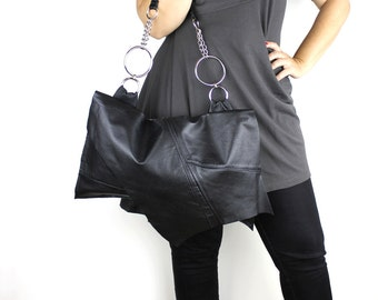 Large Black Leather Jett Handbag with Shoulder Strap - sustainable made with repurposed leather