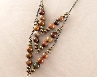 Green Opal Chevron Necklace - Geometric Gemstone Necklace - Opal Chevron Necklace - Cortez 8.5