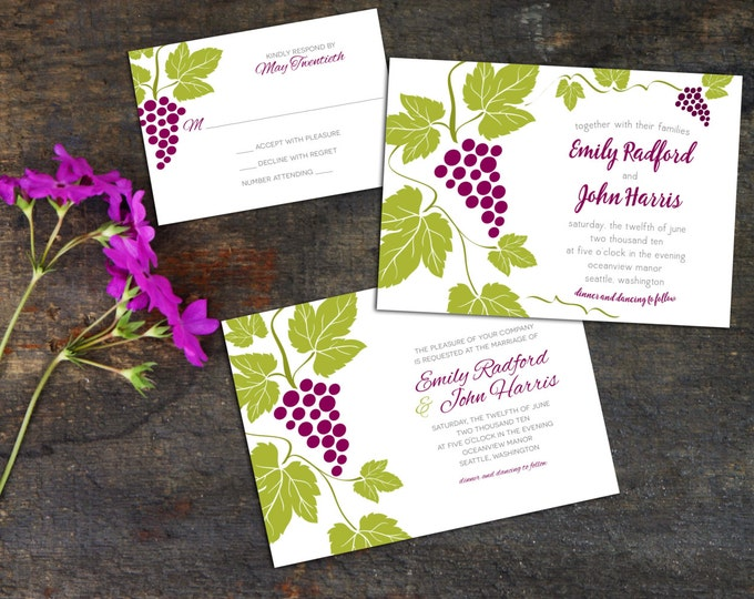Wedding Invitation Set, Grapes Wedding Invite, Winery Wedding Invitation, Vines Wedding, Garden Wedding, Response card wedding, Invitations