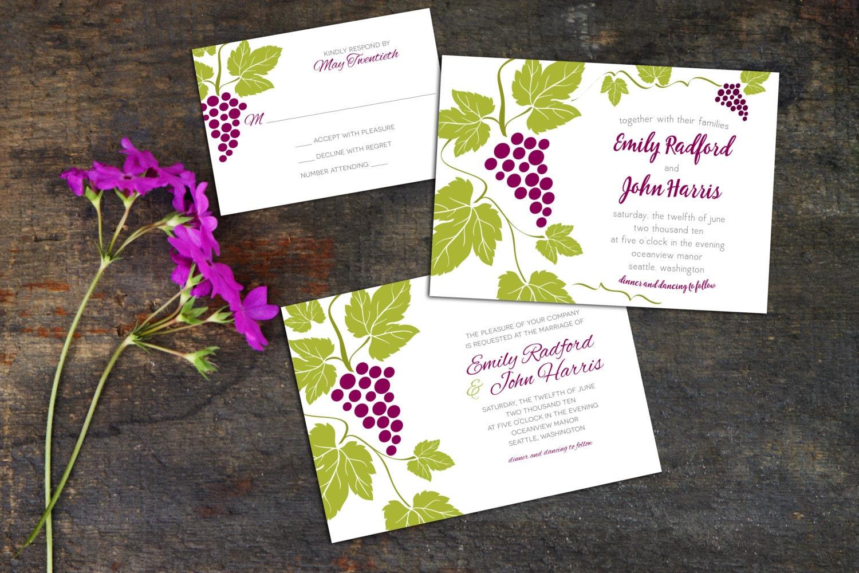 Wedding Invitation Set, Grapes Wedding Invite, Winery Wedding ...