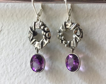 Amethyst and Sterling Silver- Grapevine Earrings