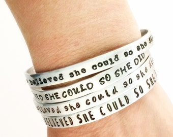 She Believed She Could So She Did Bracelet - Women Inspirational Cuff Bracelet - Inspiration Quote Jewelry - Back to school  gift for her