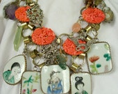 Asian Drama Statement Necklace Oriental Dragon Geisha Wrapped Stones Chain Maille Bib Aged Style Upcycled Mixed Media