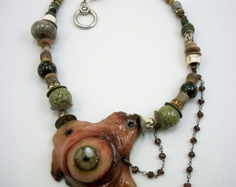 Eye Love Every Piece Of You, Voodoo, Cannibal, Horror Jewelry, EyeBall, Flesh, Zombie Head Necklace