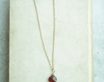 Long Layering Necklace with Cayenne Red Chalcedony, Brass Chain, Chalcedony Quartz Briolette, Long Statement Necklace
