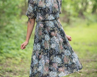 Vintage Sheer Floral Bohemian Dress (Size Small)