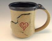 Hand Made Love New York Heart Mug/Pottery New York Mug/Ceramic New York Cup/I love New York Mug/ Big Apple Mug