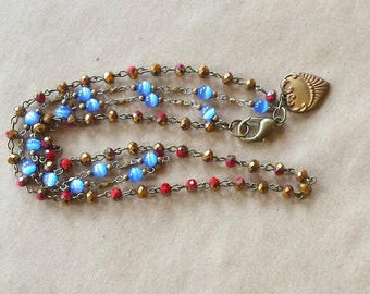 Red and Blue Two Strand Necklace