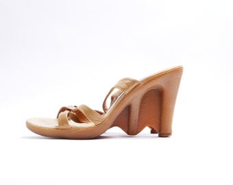 Vintage Famolare HI UPS // Strappy Mules // Wavy Sole Wedge Sandals // 6.5 M