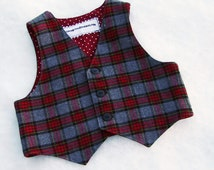 Boys Plaid Vest Red & Gray Wool Flannel Christmas Outfit Toddler or Baby Boys