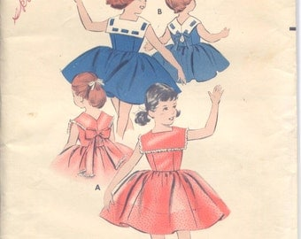 Vintage 50s Girls Nautical Style Dress- Butterick 8545- Pattern- Size 4