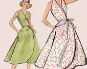1950s Wrap Dress, Sundress Halter Dress Pattern, Vogue 9197 Vintage 50s ROCKABILLY Sewing Pattern Size 14 Bust 34 UNCUT