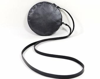 Gemini - Handmade Gunmetal Grey Leather Round Shoulder Bag Zip Pouch Purse SC16