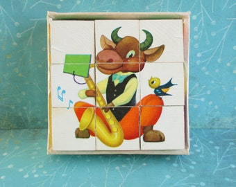Vintage Picture Cubes Childrens Puzzle