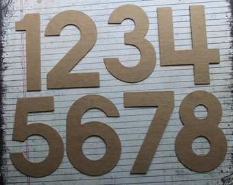 4 inch tall Block style NUMBERS bare chipboard diecuts wedding tables+ [Choose amount of numbers needed]