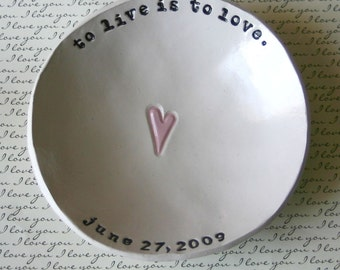 Personalized Wedding Gift: Personalized Heart Bowl, Bridal Shower Gift, Anniversary Gift, Ring Bowl, Ring Dish, Wedding Ceremony Decor