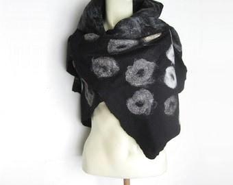 Hand Felted Black Scarf Merino Wool Silk Silver Yak Black White Grey Natural Colour Silk