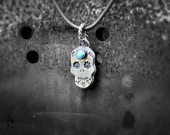 Calavera // All Hollows Eve // Sleeping Beauty Turquoise Sugar Skull Sold Sterling Metalsmith necklace with welded by BellaLili