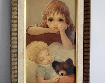 Big Eye Girl, 1960s Art Print, Miki Baby Sitter Print, Kitsch Home Decor, Mid Century Keane Style Art, Retro Wall Hanging, Nursery Decor