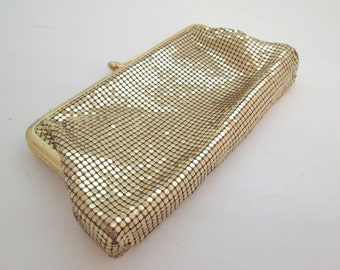 Vintage Whiting and Davis Mesh Purse, Metallic Purse, Gold Mesh Clutch Bag, gold coin purse, cosmetic bag, Whiting and Davis wallet