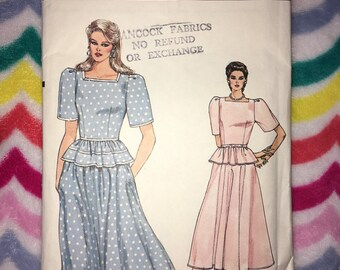 Vintage 1980s Vogue Dress Pattern No. 8635 size 16 - Cut & complete with instructions