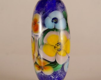 Lampwork Focal Bead, Encased floral in blue and yellow