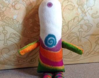 Love Spirit Doll Cloth Doll OOAK Art Doll Colorful Peace Hippie Rainbow Spiral Spiritual Meditation Acceptance Unity