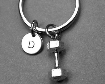 Barbell keychain, barbell charm, weight lifting keychain, personalized keychain, initial keychain, initial charm, customized, monogram