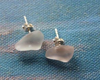 Rare Pale Pink Sterling Silver and Seaglass Earrings